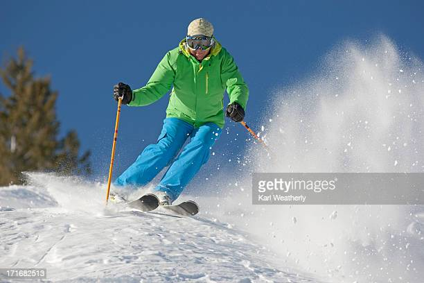 man snow skiing - ski pole stock pictures, royalty-free photos & images