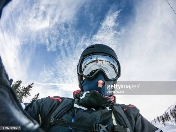 man snowboarding portrait - face guard sport stock pictures, royalty-free photos & images