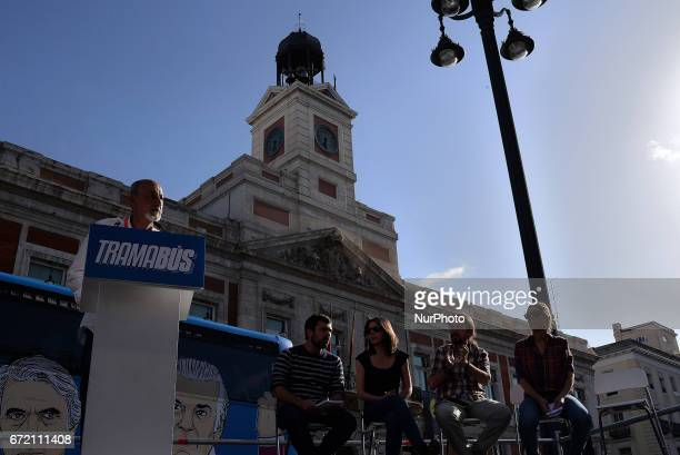 A man speaks as the 'Tramabus' an anticorruption bus belonging to the Spanish opposition party Podemos makes a stop at Puerta del Sol in Madrid Spain...