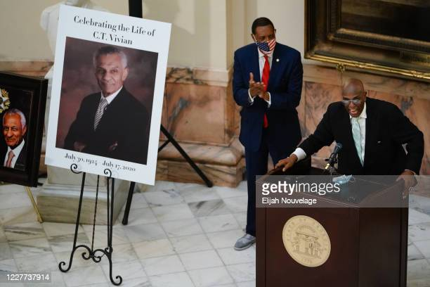 Man speaks at a short service for civil rights leader C.T. Vivian as he lies in state in the Georgia Capitol building on July 22, 2020 in Atlanta,...