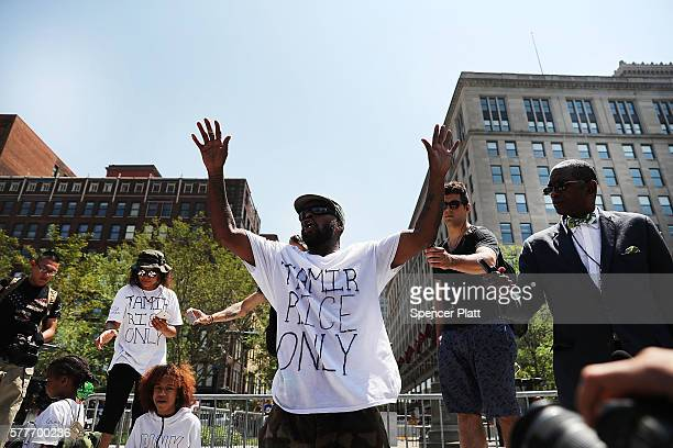 A man speaks out against the shooting of 12 yearold Tamir Rice by police near the site of the Republican National Convention in downtown Cleveland on...