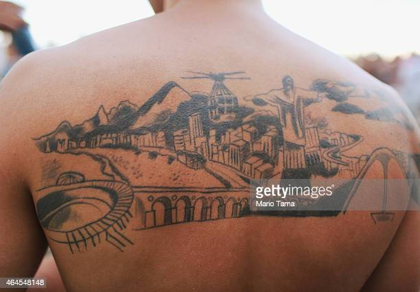 A man sports a tatttoo highlighting Rio landmarks on February 22 2015 in Rio de Janeiro Brazil Rio marks its 450th anniversary on March 1 and is...