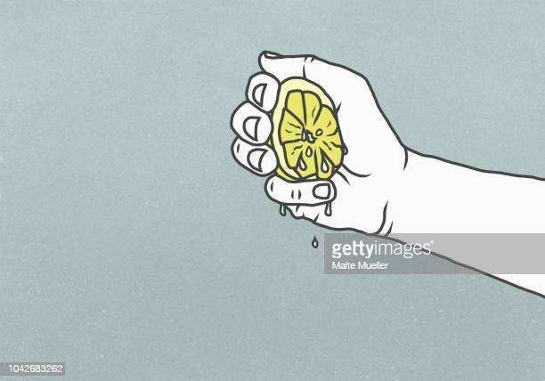 man squeezing juicy lemon - illustration stock pictures, royalty-free photos & images