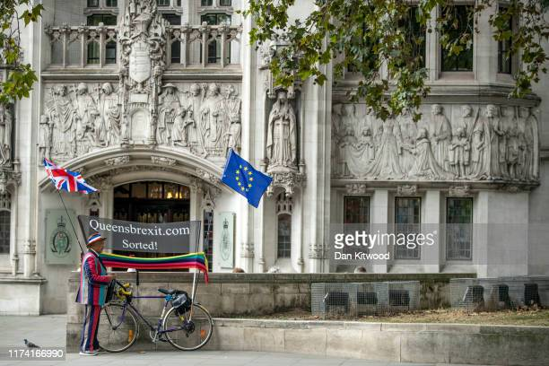 A man stages a Brexit protest outside the Supreme Court on September 12 2019 in London England