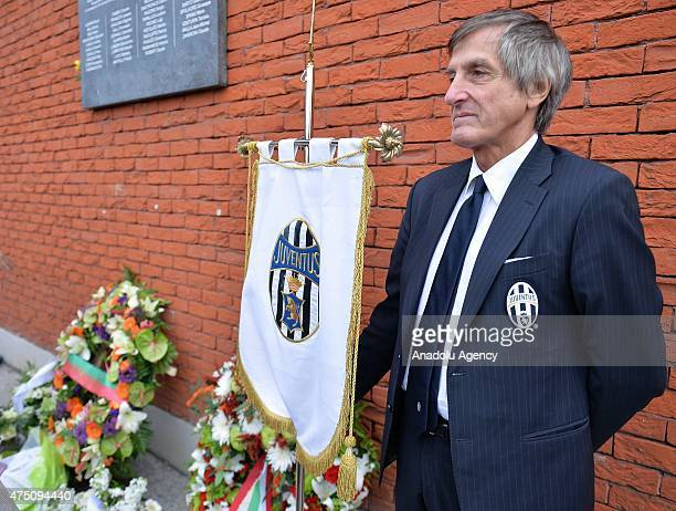 Man stand near a Liverpool banner during a ceremony marking the 30th anniversary of the tragedy at the stadium, renamed King Baudouin Stadium, in...