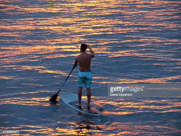 Man Stand up Paddle in ocean in California
