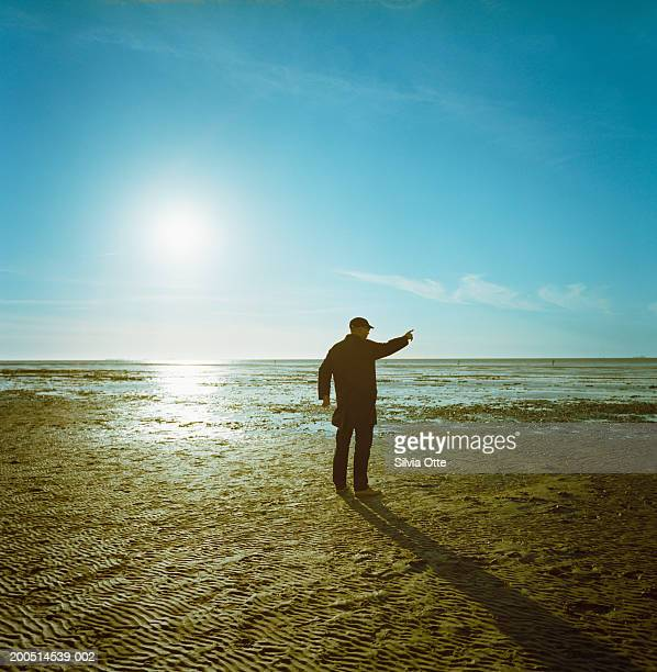 Man standing and pointing on mudflats, rear view