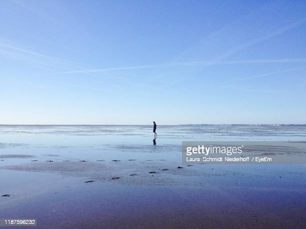 man standing at beach against blue sky - laura schmidt foto e immagini stock