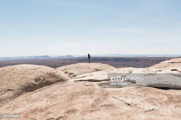 man standing at overlook at muley point, san juan canyon in distance, bears ears national monument, utah - área silvestre fotografías e imágenes de stock