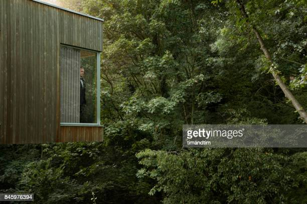 Man standing at window in modern house watching the forest