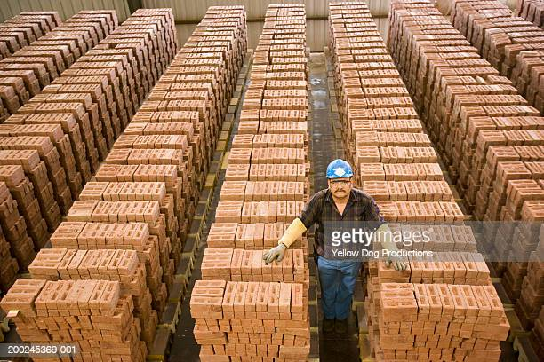 man standing between stacks of bricks, portrait, elevated view - construction material stock pictures, royalty-free photos & images