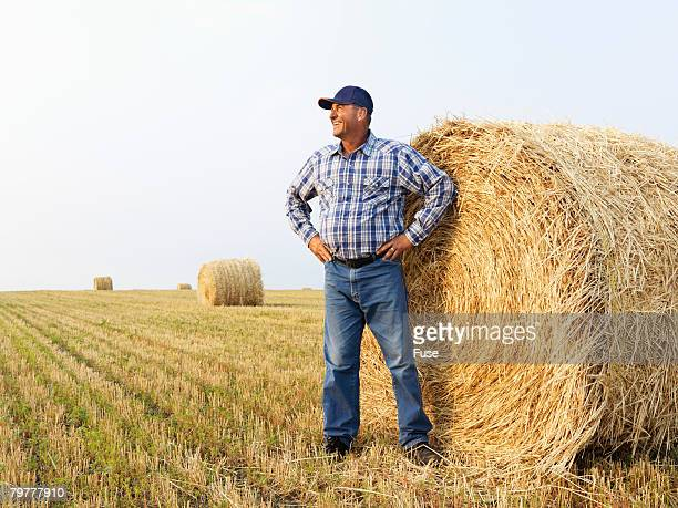 man standing by bale of hay - hand on hip stock pictures, royalty-free photos & images