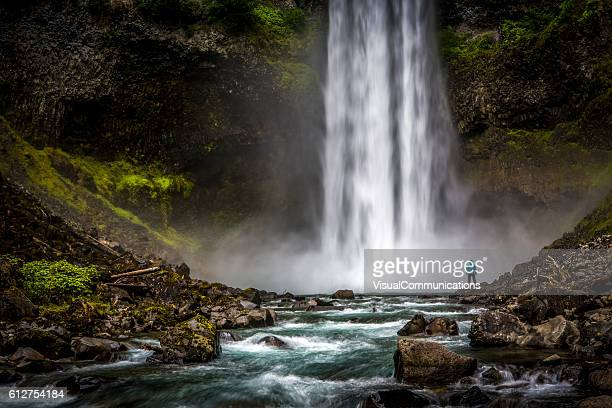 man standing close to huge waterfall. - british columbia stock pictures, royalty-free photos & images