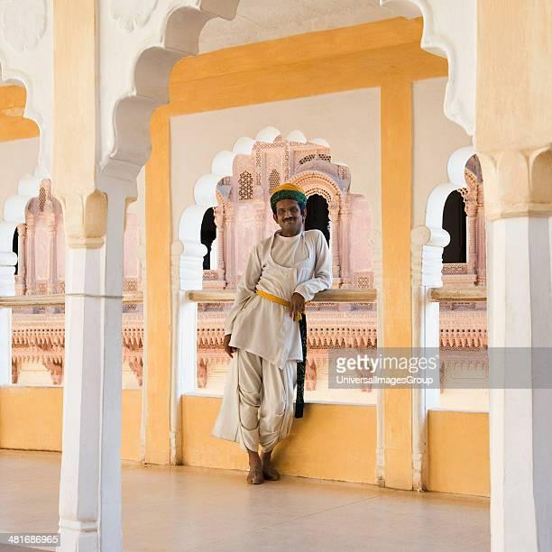 Man standing in a corridor Meherangarh Fort Jodhpur Rajasthan India