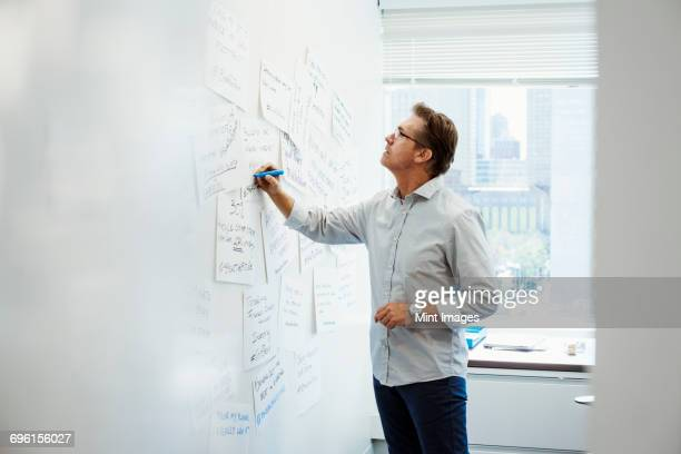 A man standing in an office writing on pieces of paper pinned on a whiteboard.