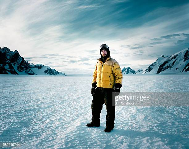 Man standing in artic scenery