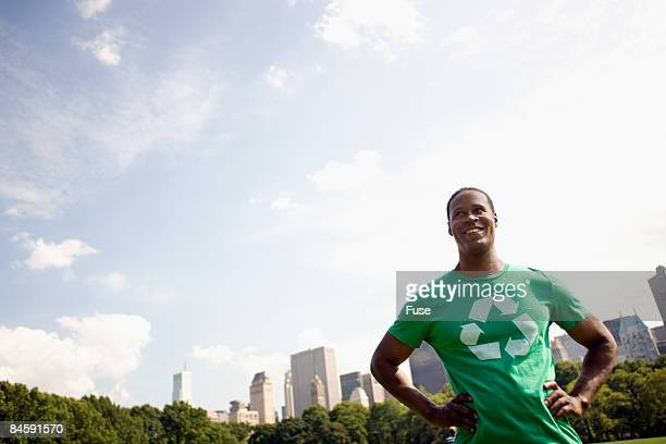 man standing in central park - ニューヨーク郡 ストックフォトと画像