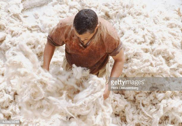 Man Standing in Mounds of Wool