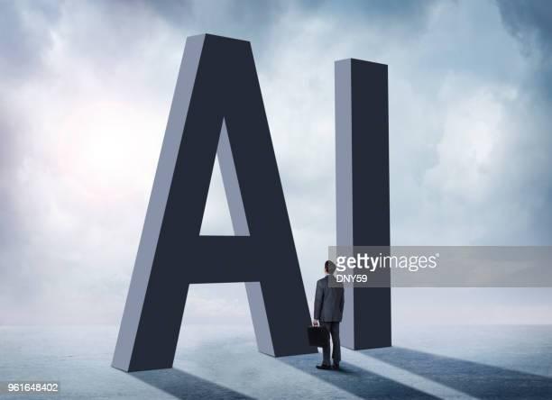 Homme debout dans l'ombre de l'IA
