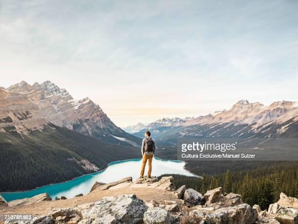 Man standing, looking at view, viewpoint overlooking Peyto Lake, Lake Louise, Alberta, Canada
