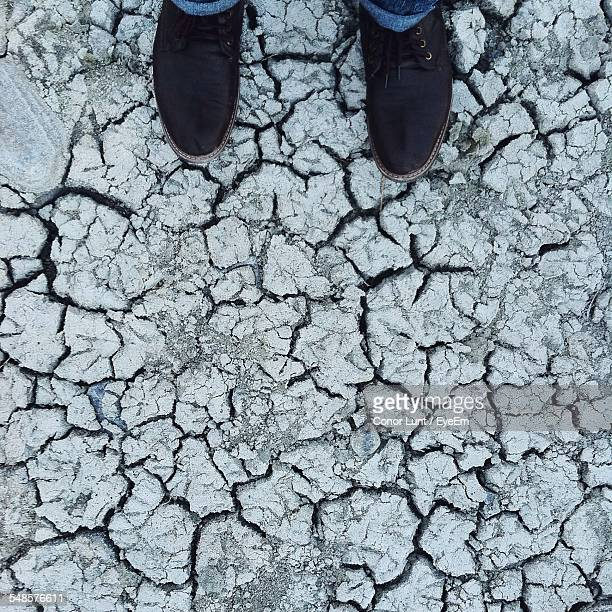 man standing on cracked earth - conor stock pictures, royalty-free photos & images