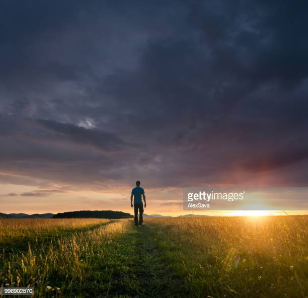 Man standing on field during majestic sunset