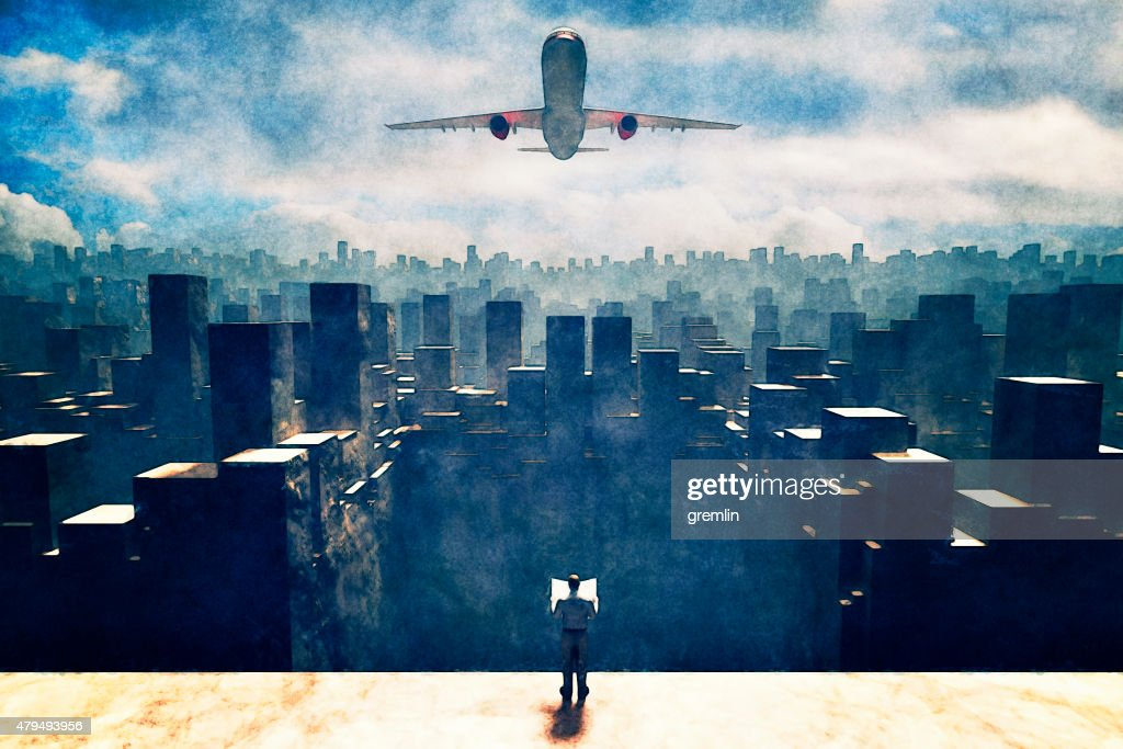 Man standing on rooftop against giant airplane : Stock Photo