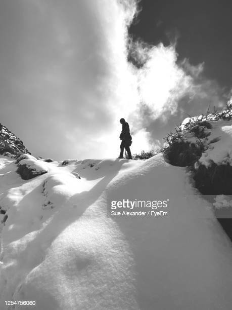 man standing on snowcapped mountain against sky - heavens gate cult stock pictures, royalty-free photos & images