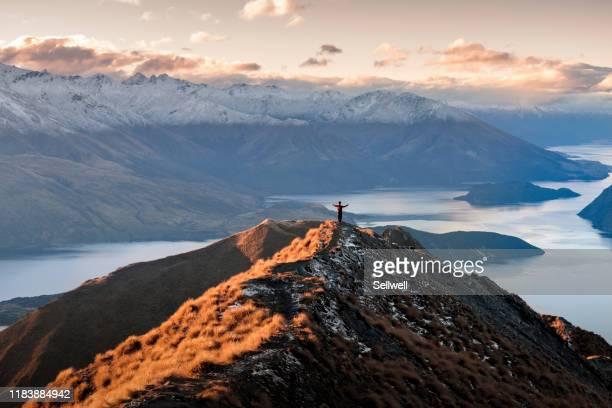 man standing on the top of mount roy - wanaka - fotografias e filmes do acervo