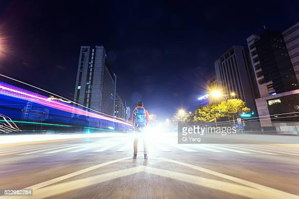 Man standing on the zebra crossing