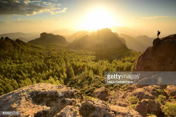 man standing on top of a mountain, canary islands - paesaggio spettacolare foto e immagini stock