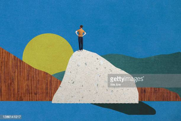 man standing on top of mountain - aspirations stock pictures, royalty-free photos & images