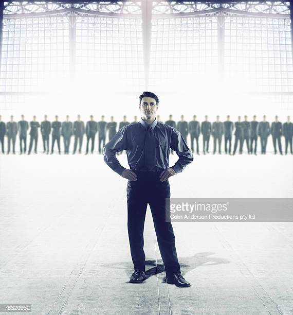 Man standing out from crowd