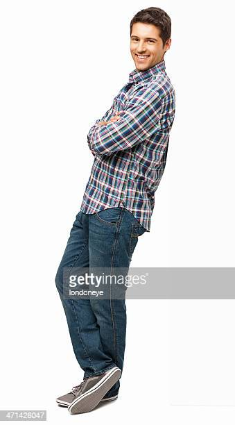 man standing with arms crossed - isolated - leaning stock pictures, royalty-free photos & images