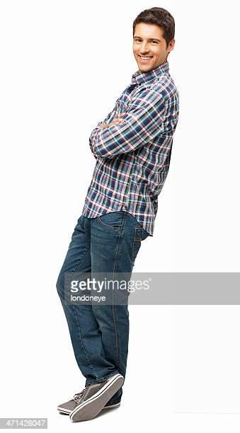 mann, stehend mit arme verschränkt-isoliert - lehnend stock-fotos und bilder