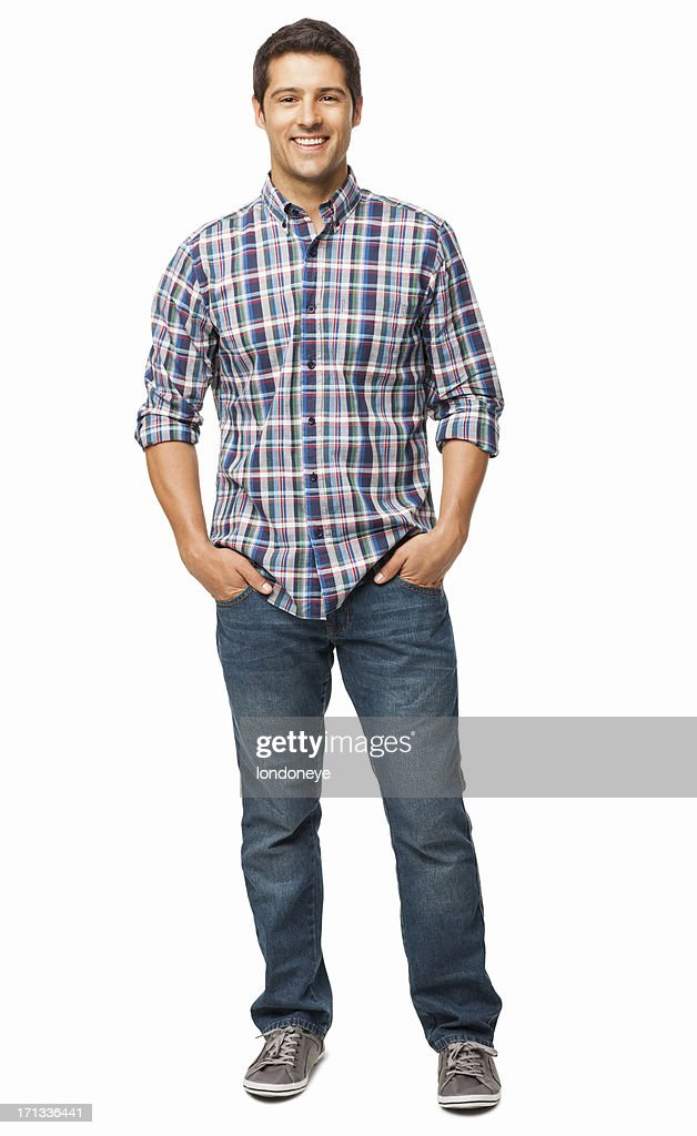 Man Standing With Hands In Pockets - Isolated : Stock Photo