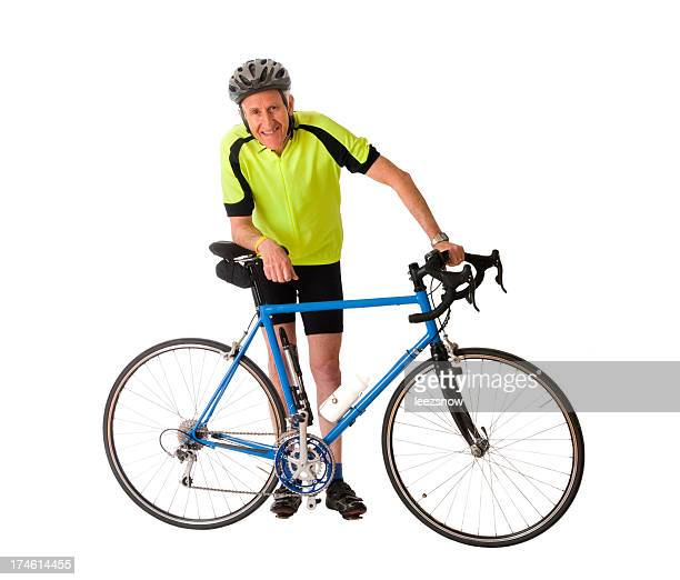 Man Standing With His Bicycle - Isolated on White