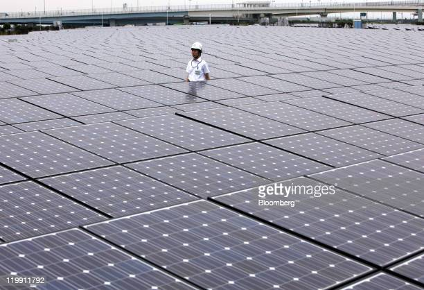 A man stands among solar panels manufactured by Sharp Corp at the Ukishima Solar Power Plant in Kawasaki City Kanagawa Prefecture Japan on Wednesday...