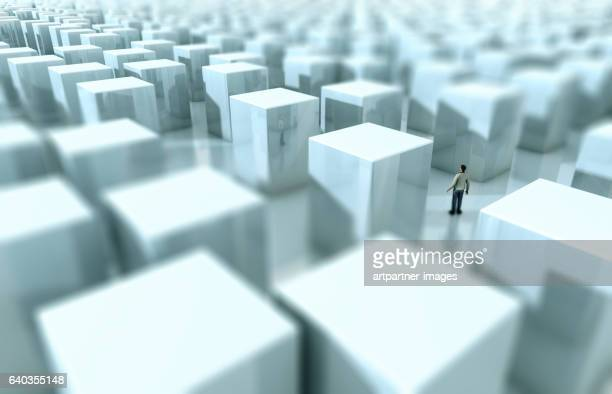 man stands in a maze