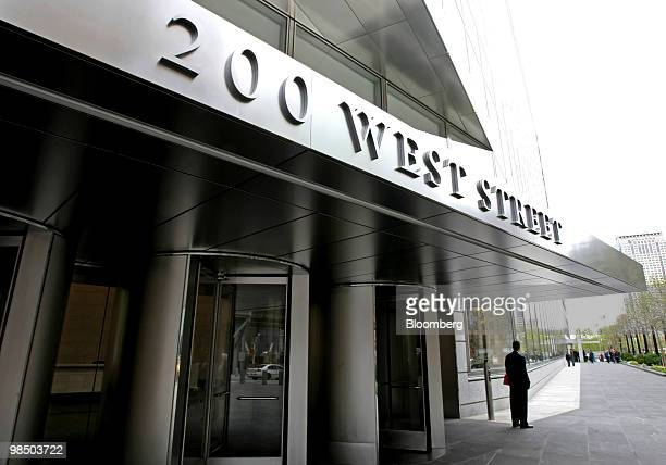 A man stands near the entrance to Goldman Sachs Group Inc's new headquarters building at 200 West Street in New York US on Friday April 16 2010...