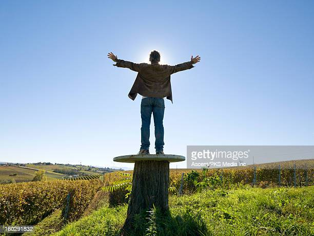 Man stands on round table, arms out, vineyards