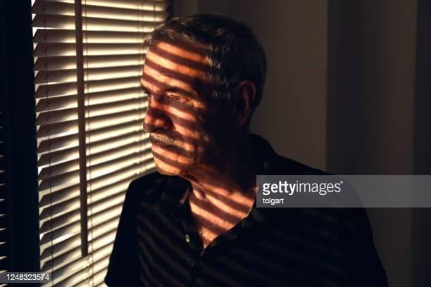 ブラインドを通して窓の外を見つめて - 偏執症 ストックフォトと画像