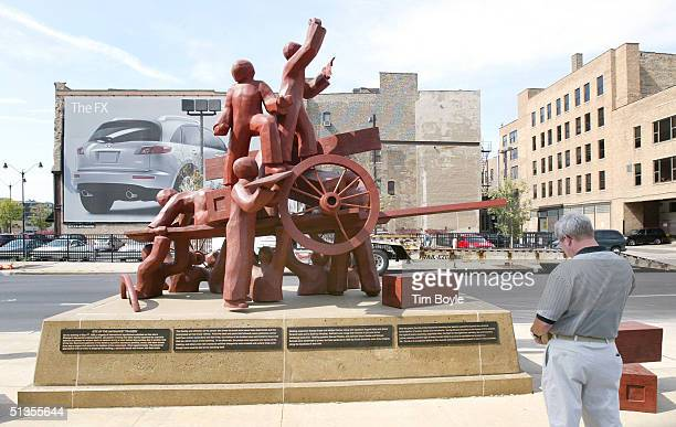 A man stops and reads information at the Haymarket Memorial September 24 2004 in Chicago Illinois The memorial marks the spot of Haymarket riot of...