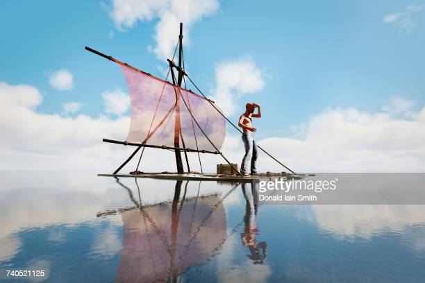 man stranded on raft - stranded stock photos and pictures