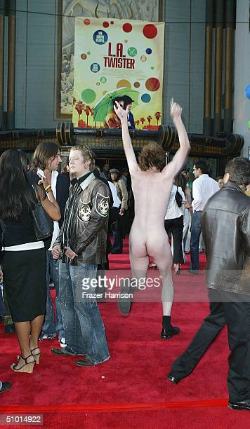 A man streaks down the red carpet during the arrivals at the World Premiere of 'LA Twister' on June 30 2004 at the Grauman's Chinese Theatre in...