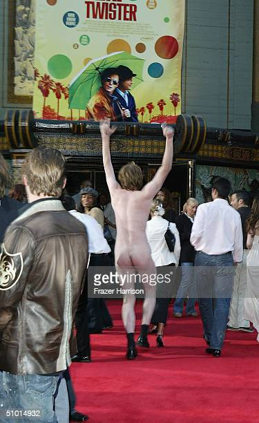 """Man streaks down the red carpet during the arrivals at the World Premiere of """"LA Twister"""" on June 30, 2004 at the Grauman's Chinese Theatre, in..."""