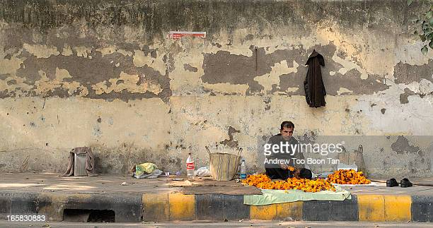 CONTENT] A man strings together orange and red flowers to make garlands for sale by the roadside in New Delhi India He takes over the place as his...