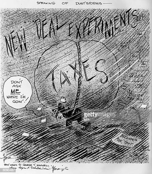 Man struggling under the burden of taxes which financed the New Deal policies of President Franklin Delano Roosevelt's government.
