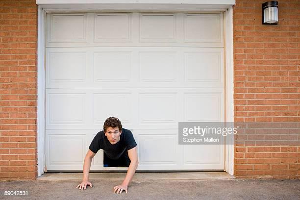 Man stuck in doggy door