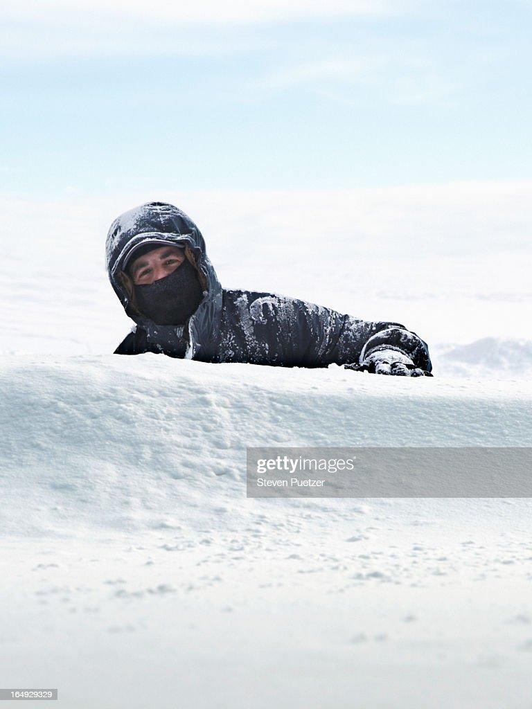 Man Stuck In Snow Stock Photo